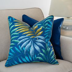 Jungle Cushion cover, Blue Pillowcase, Coastal Pillowcase ,Decorative Pillow Cover, 45x45cm, Double Sided Cotton pillow, cushion with leaves