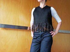 Eco fashion, black sleeveless top/vest, slip over, felted wool, natural designer clothing, eco friendly clothing, funky women's clothing