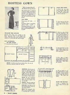 hostess gown, part 1 from Smart Sewing magazine, edition, 1949 Sewing Hacks, Sewing Tutorials, Sewing Crafts, Sewing Projects, Free Sewing, Vintage Sewing Patterns, Clothing Patterns, Diy Vintage, Sewing Magazines