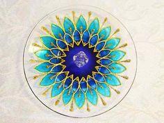 Incensário Em Vidro Redondo Mandala Margarida Azul Dourado