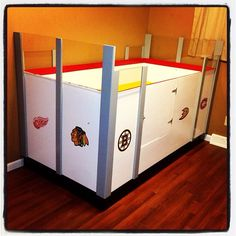 How awesome is this hockey bed?  My hubby made it :) Go Wings!!