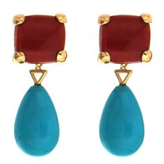 Cushion Coral and Drop Turquoise Earrings | From a unique collection of vintage clip-on earrings at https://www.1stdibs.com/jewelry/earrings/clip-on-earrings/