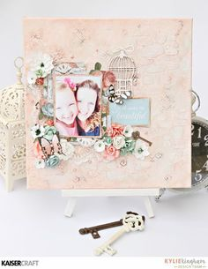 """""""You Make Life Beautiful"""" Wall Canvas (October 2016) by Kylie Kingham Design Team member for Kaisercraft using Ooh La La collection - Wendy Schultz - Beyond the Page Projects."""