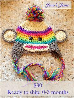 Bright Rainbow Sock Monkey Hat