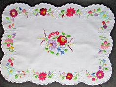 Hungarian Kalocsa Floral Hand Embroidered Tablecloth Runner Colorful 19x13.5