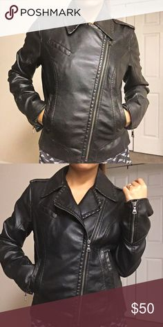 Black Leather Jacket Express Worn twice. Excellent used condition, no tear. Size medium but can fit small & xs. Express Jackets & Coats