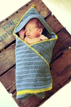 Crocheted hooded striped baby blanket