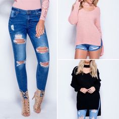 We Love: Ripped Jeans with Chocker Knit all at oopsie.co.uk #womensfashion #rippedjeans #chocker #knitwear #winterfashion #oopsie