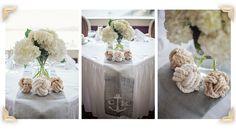 White Hydrangea Centerpieces with Nautical Knots/ Monkey Fist Knots. Bar Harbor Inn