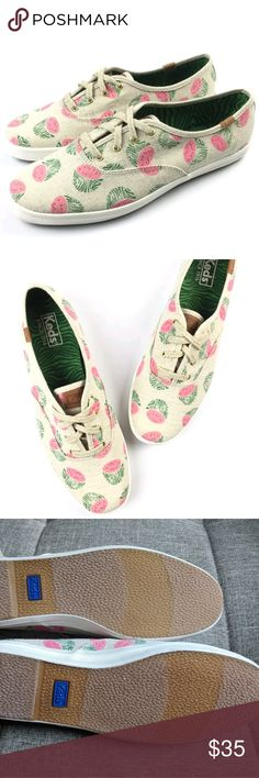 Keds Watermelon print 9.5 NWOB Brand new (no box) watermelon print Keds. Women's, size 9.5. Perfect for spring/summer.  Canvas material (tan/natural) with pink/green watermelon print. Keds Shoes Sneakers