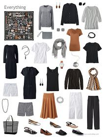 a capsule wardrobe in brown, black, grey and white