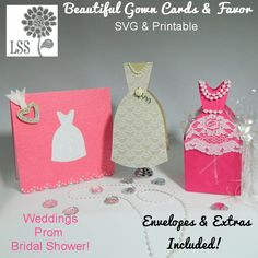 Are you looking for pretty cards and favor boxes for a prom, bridal shower or wedding? Look no further, this kit has 2 cards and envelopes, and a lovely favor box that will add elegance to your next event. Here is what you get in this kit:  SVG cutting files:  Gown shaped card  Gown shaped box