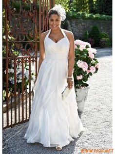 Soft Chiffon Plus Size Beach Wedding Dresses 2011