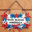 God Bless America Door Sign Craft Kit.  Independence Day craft ideas for kids.