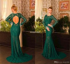Emerald Green Lace Evening Dresses with Long Sleeve Keyhole Back Mermaid Chapel Train Jewel Beading 2016 Women Formal Gowns Occasion Dresses Online with $119.43/Piece on Sweet-life's Store | DHgate.com