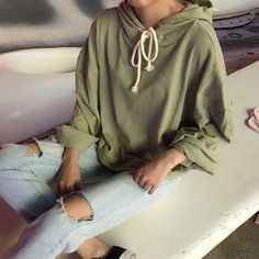 #YesStyle - #Closette Long-Sleeve Plain Hooded Pullover - AdoreWe.com