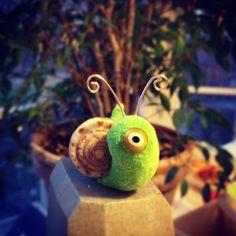 Snail green cyclops flocked cute handmade by GlazyDaysandNights,