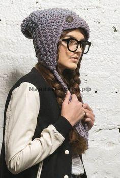 Вязаная крючком шапка-ушанка с помпоном (flash flap hat knitting)