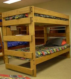 Photo of Bunk Bed - Maple Stain (no lacquer) Bunk Beds With Stairs, Cool Bunk Beds, Twin Bunk Beds, Twin Twin, Bed Maker, Solid Wood Bunk Beds, Maple Stain, Bunk Bed Plans, Boy Room