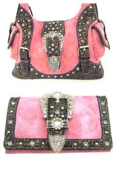 2 Piece Pink Western Rhinestone Buckle Purse « Clothing Impulse