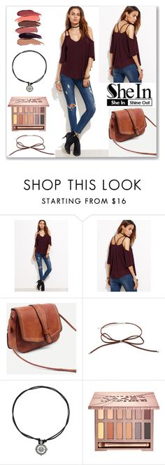 """""""Shein Burgundy Strappy Cold Shoulder T-shirt"""" by ludmyla-stoyan ❤ liked on Polyvore featuring Mary Kay, Urban Decay, burgundy, Tshirt, shoulder and shein"""