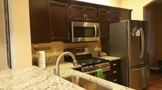 Kitchen updated with General Finishes gel stain in Brown Mahogany. This color would work for my interior house doors. Kitchen Reno, Kitchen Cabinets, Kitchen Ideas, Staining Cabinets, House Doors, Updated Kitchen, Better Homes, Home Projects, Sweet Home