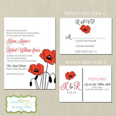 Pretty Poppy Wedding Invitation & Reply Postcard | Pantone poppy red  by designedbyme