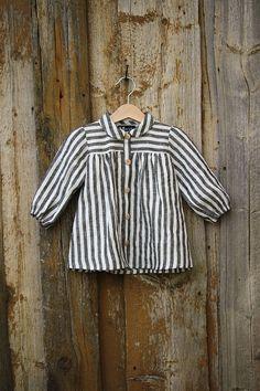 Linen baby striped blouse   toddler linen shirt baby girls