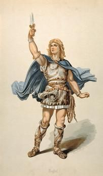 """Costume design by Karl Emil Döpler for Siegfried, in """"Siegfried"""" by Richard Wagner Norse, Ancient Warriors, Old Warrior, Mythical Creatures, Image, Historical Warriors, Mythology, Warrior, Zelda Characters"""