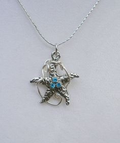 Starfish Necklace, silver-plated, contemporary design, nautical jewelry by sheradesigns on Etsy