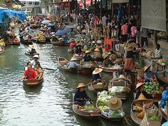 A floating market in bangcock thailand