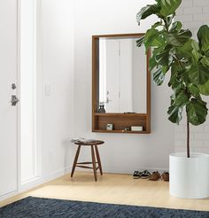 Give your outfit a final check before heading out the door. A tall mirror with a built-in shelf is ideal for an entryway. #madeinamerica