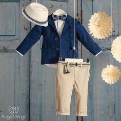 Βαπτιστικό Σύνολο Μπεζ με Μπλε | Angel Wings 092 Boy Christening, Boy Outfits, Khaki Pants, Coat, Classic, Jackets, Clothes, Fashion, Boyish Outfits
