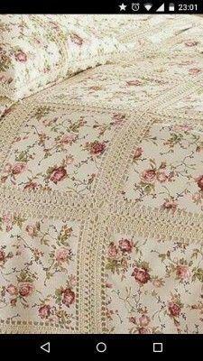 Crochet Fabric Quilt Blanket F Crochet Bedspread, Crochet Fabric, Crochet Quilt, Crochet Granny, Crochet Blanket Patterns, Crochet Crafts, Crochet Projects, Quilt Patterns, Ruffle Quilt
