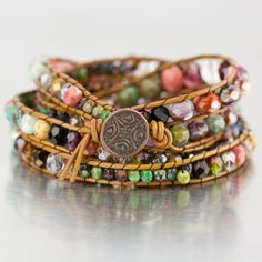 DIY Chan Luu Style Bohemian Wrap Bracelet Eureka Crystal Beads Czech Glass https://eurekacrystalbeads.wordpress.com/2013/08/01/things-to-do-with-leftover-beads/
