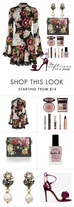 """The Softness of a Rose"" by sparklemeetsclassic ❤ liked on Polyvore featuring Nicholas, Charlotte Tilbury, Dolce&Gabbana, Lauren B. Beauty, Gucci, Aquazzura and vintage"