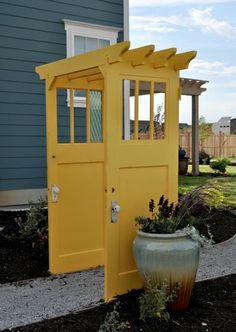 Creative Repurposed Old Door Ideas & Projects For Your Backyard Brightly Painted Doors Make a Pergola Backyard Pergola, Backyard Landscaping, Backyard Ideas, Back Yard Ideas Diy, Luxury Landscaping, Landscaping Design, Outdoor Projects, Garden Projects, Diy Projects