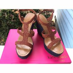 Kate Spade Lila Straw T-Strap Wedge Retail: $275 • Stunning shoes! • Worn with love but still in great shape • Definitely plenty of life left and still beautiful  • Will include the original box • NO TRADES NO PAYPAL • kate spade Shoes Wedges