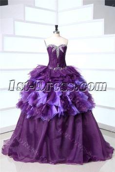Purple Long Best Quince Gown Dress:1st-dress.com