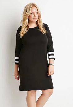 Striped-Sleeve Shift Dress   Forever 21 PLUS   #forever21plus