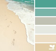 Master Bath Color Palette. Colors by the Sea: Sand in Beige, Sea Spray in Light to Med Grey, Emerald Green Waters. Coastal Decor. Sand & Sea Wall Paint Colors.