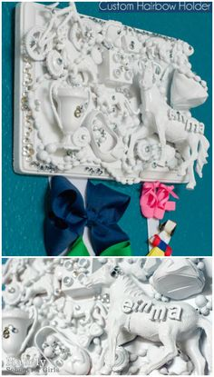 This looks really cool to me! I think I can repurpose old toys to make this.My Favorite Things Hairbow Holder Diy Hair Bow Holder, Diy Hair Bows, Bow Holders, Diy Bow, Recycled Art, Repurposed, Recycled Pallets, Recycled Toys, 1001 Pallets