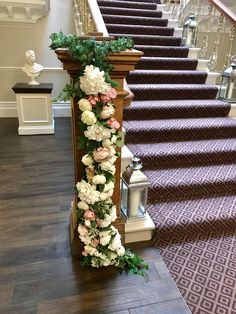 Stunning staircase at Ashfield House dressed with beautiful everlasting peonies, roses,hydrangea and ivy. Civil Ceremony, House Dress, Bridal Flowers, Hydrangea, Floral Wedding, Peonies, Ivy, Floral Design, Stylists