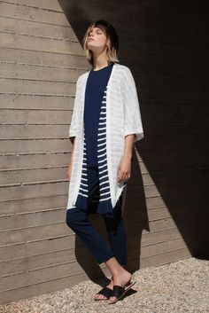 Three Dots Fiona Reversible Striped Long Cardigan | Spring 2016 Collection