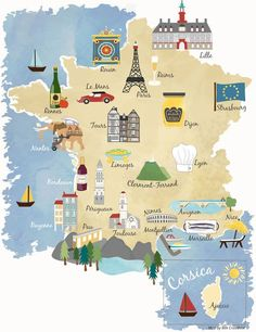 Illustrated map showing major cities of France including Paris, Rennes, Nice…