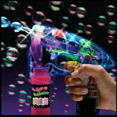 Flashing LED Bubble Gun With Lights Plus  With 2 Bottles of Bubbles
