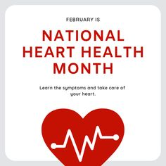 February is National Heart Health Month. Take care of YOUR heart. Heart Health Month, Heart Month, February Awareness Month, Bicuspid Aortic Valve, Hello February Quotes, Heart Disease Symptoms, Protect Your Heart, Take Care Of Yourself, Helping People