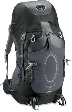 Osprey Atmos 65 Pack. I own this one and absolutely love it! Perfect size for traveling light and short backpacking trips.