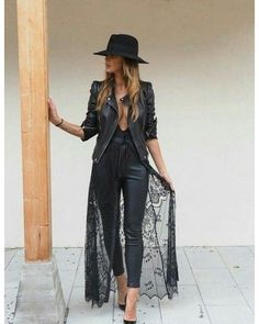 All-black outfit mood. #Edgy #Rocker Black Hat | Black Deep V Body Suit | Black Lather Pants | Black Lace Overlay | Black Leather Jacket | Pumps