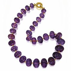 Melon carved amethyst bead necklace
